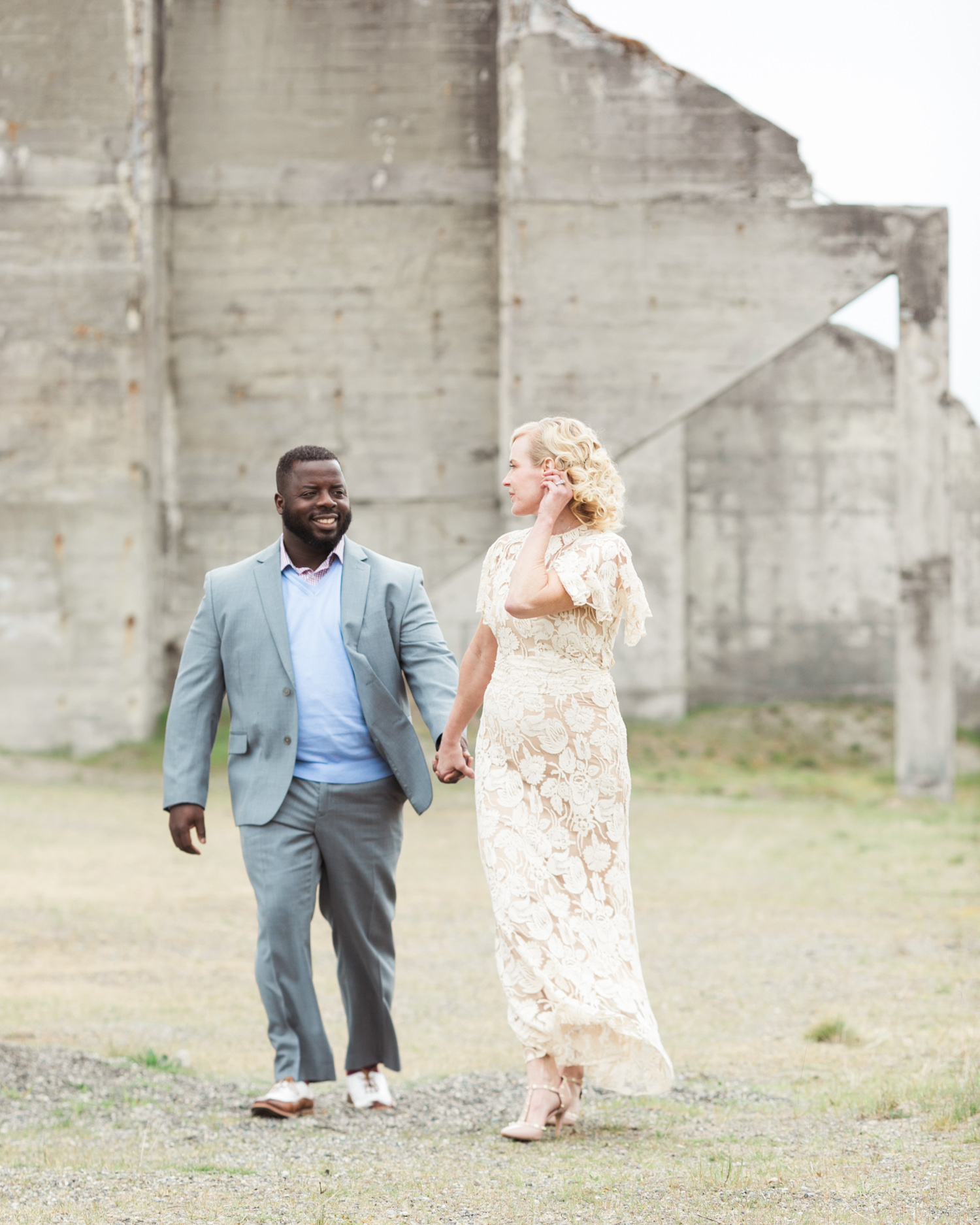 Chambers Bay engagement portrait in vintage wedding dress