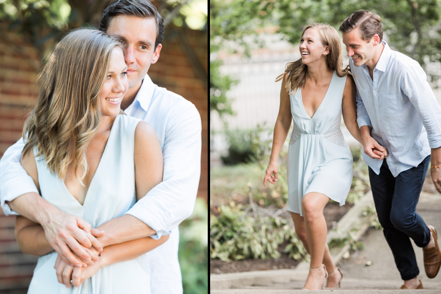 image of couple engagement portrait georgetown dc diptych