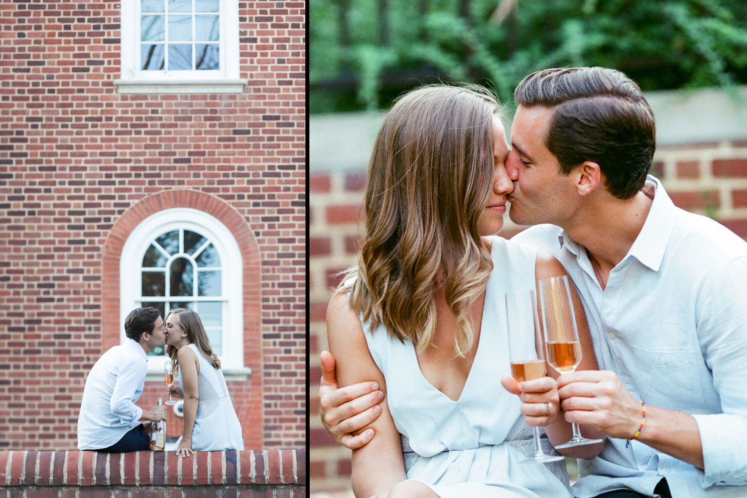image of couple engagement portrait champagne toast georgetown dc