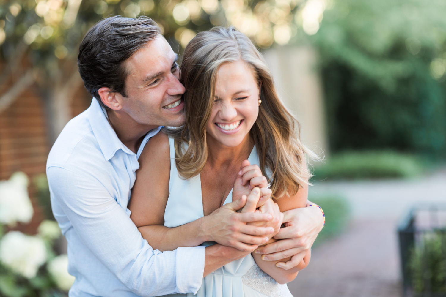 image of couple laughing engagement portrait georgetown dc