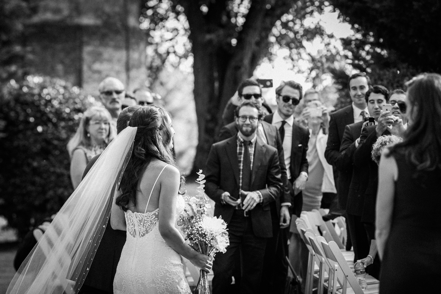 image of bride and father making ceremony entrance at private residence in Gettysburg