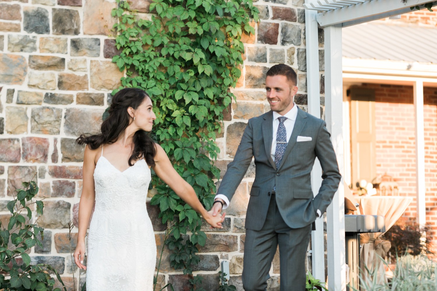 image of bride and groom at wedding at private residence in Gettysburg
