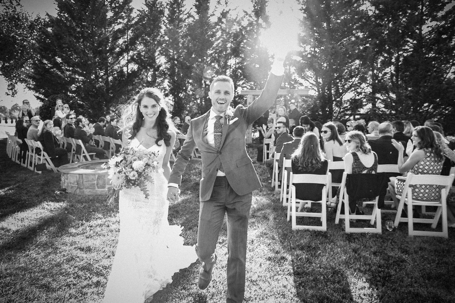 image of bride and groom celebrating wedding ceremony exit at private residence wedding ceremony Gettysburg