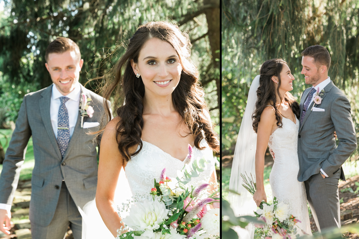 image of bride in modern trousseau gown and groom in garden at private residence in Gettysburg