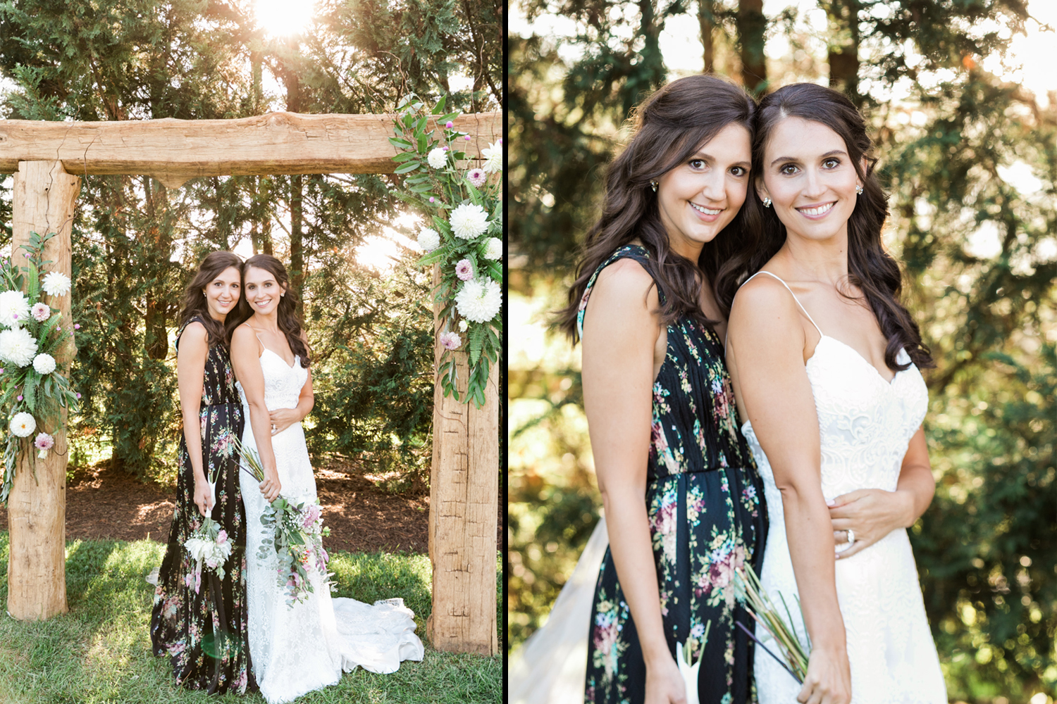 image of bride in modern trousseau gown and bridesmaid in alice and olivia dress