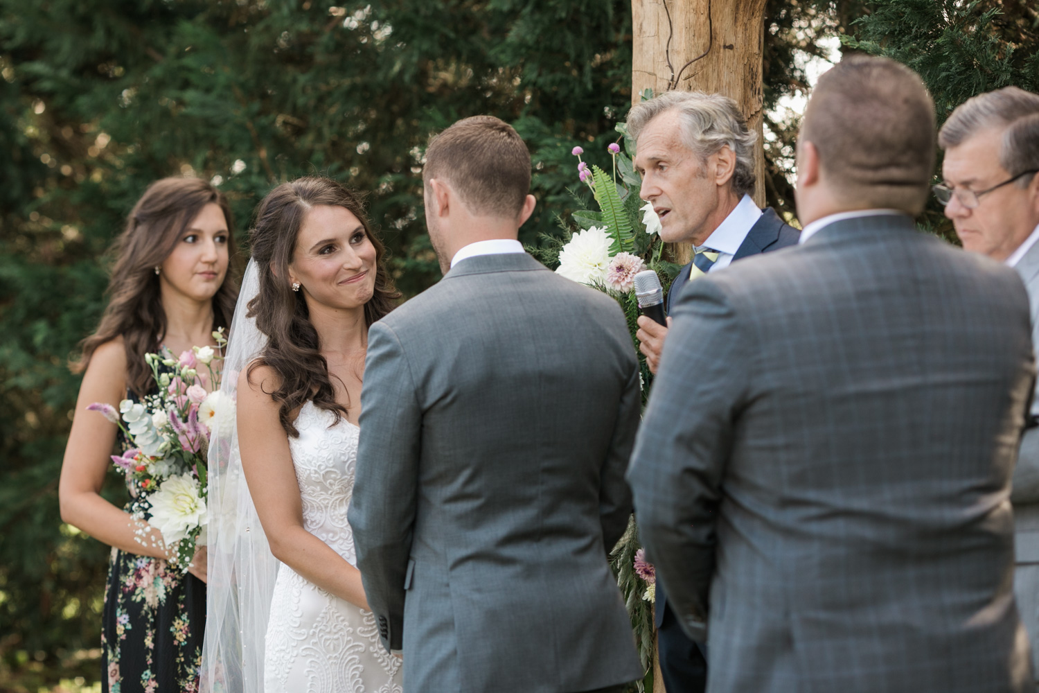 image of bride exchanging vows at private residence wedding ceremony