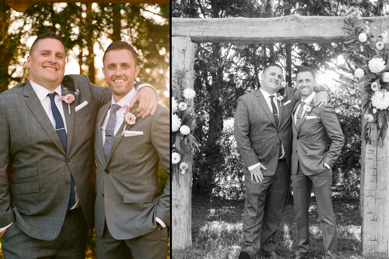 image of groom with best man at wedding at private residence in Gettysburg