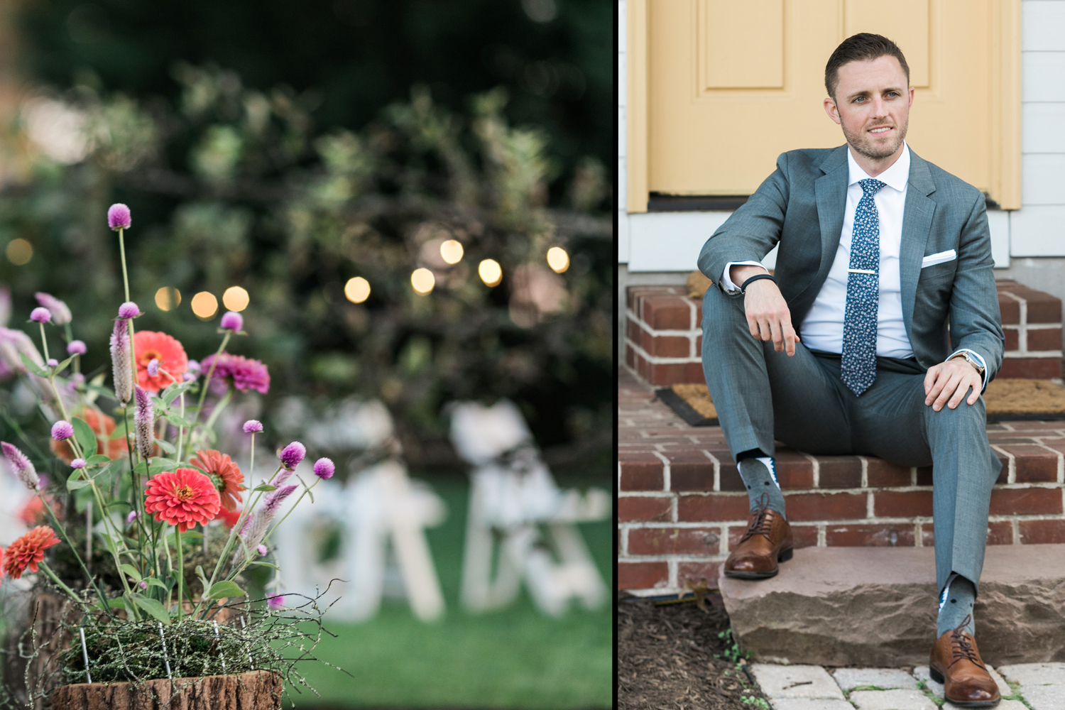 image of groom seated before wedding ceremony at private residence in Gettysburg