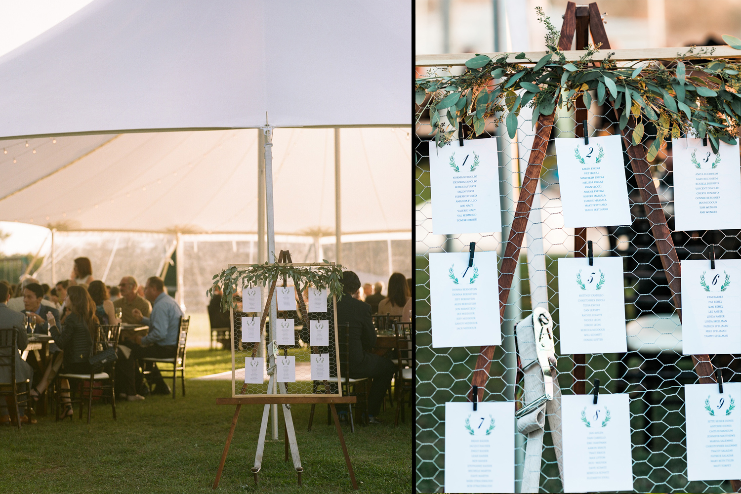 image of wedding reception tent and placecard detail at Gettysburg