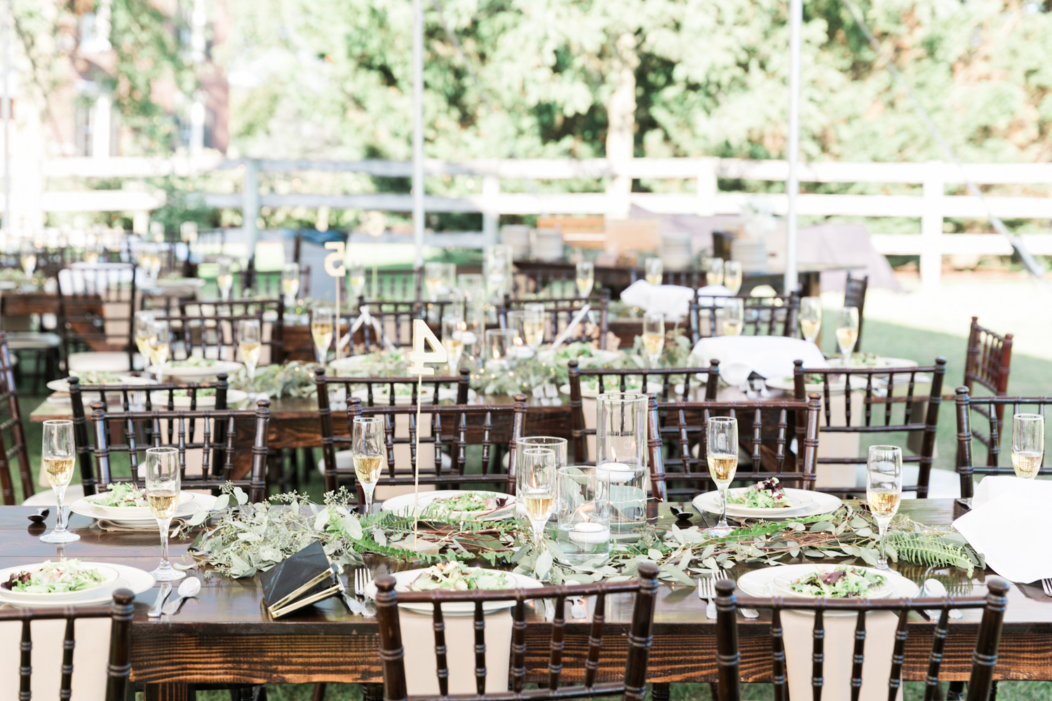 image of wedding reception tablescape under tent at Gettysburg