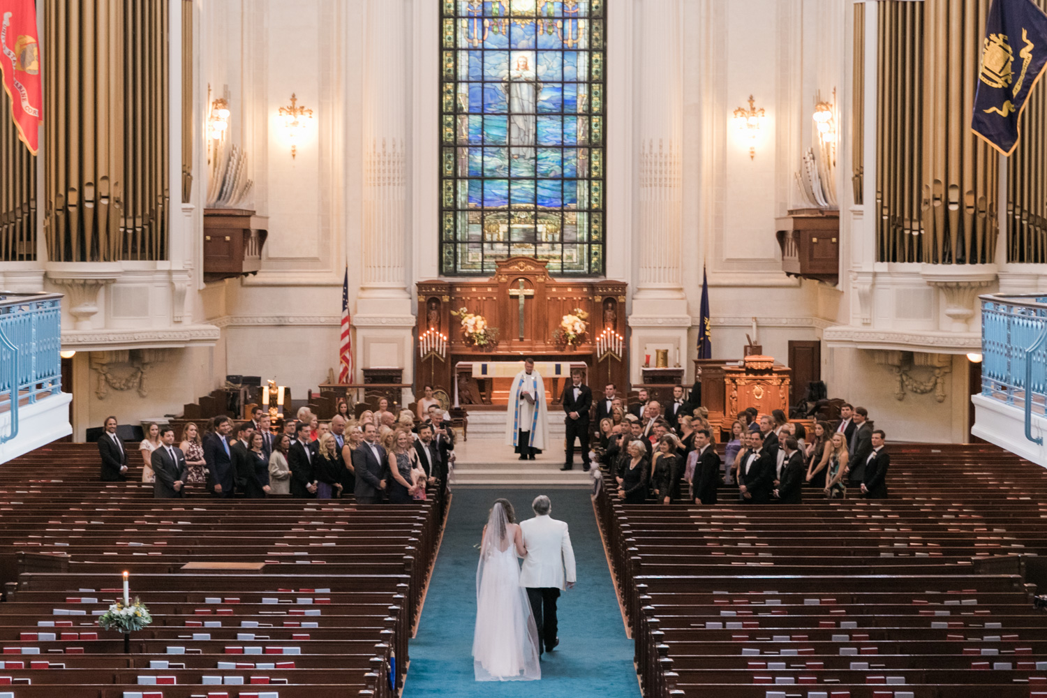 image of wedding ceremony at US Naval Academy chapel