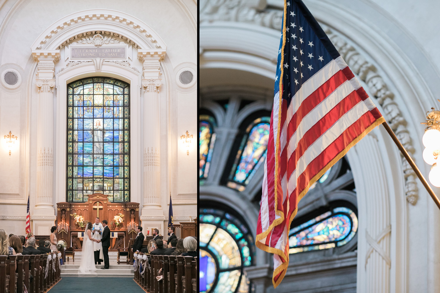 image of wedding ceremony at US Naval Academy and chapel detail