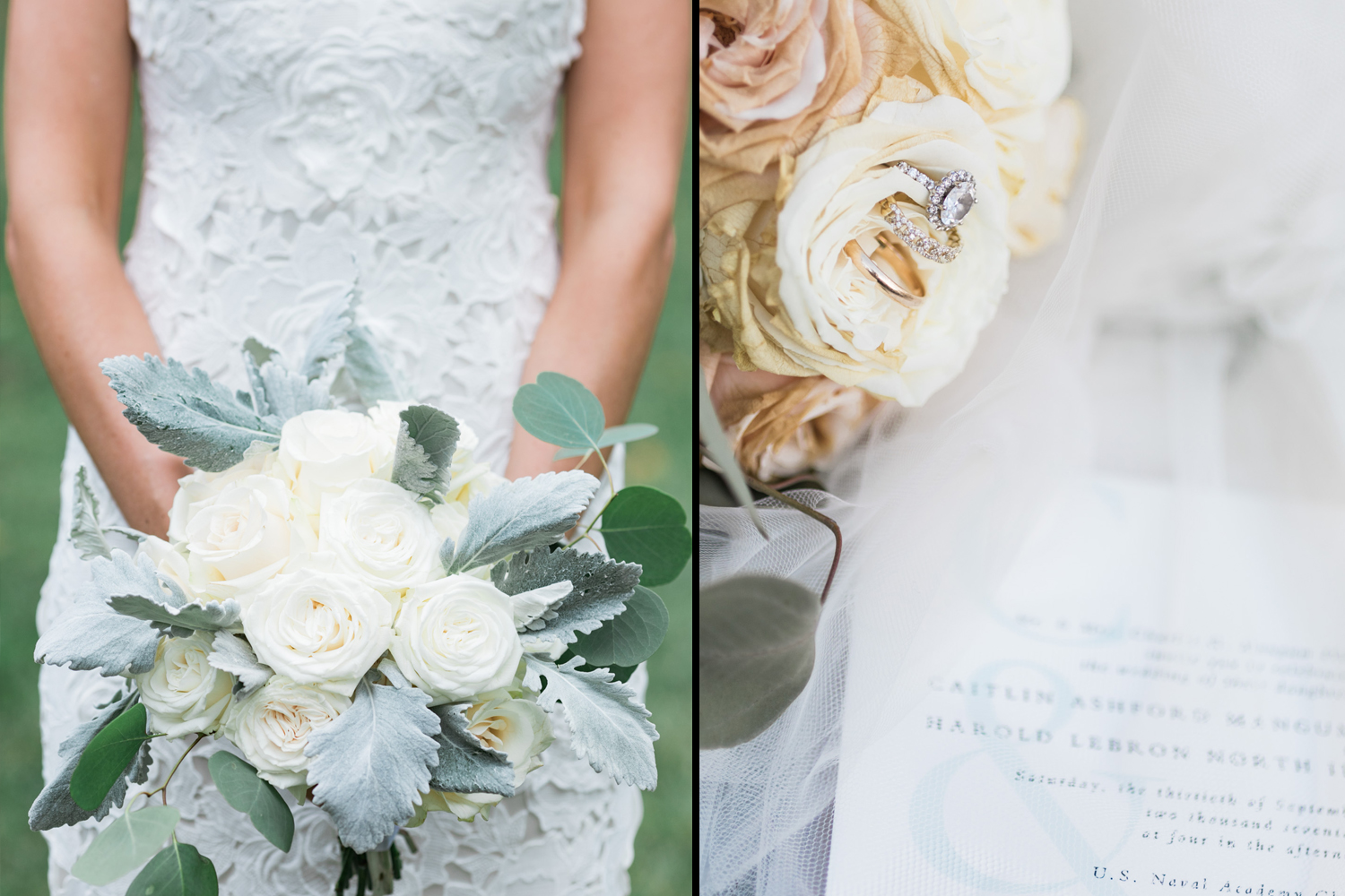 image of white rose bridal bouquet and ring and invitation detail