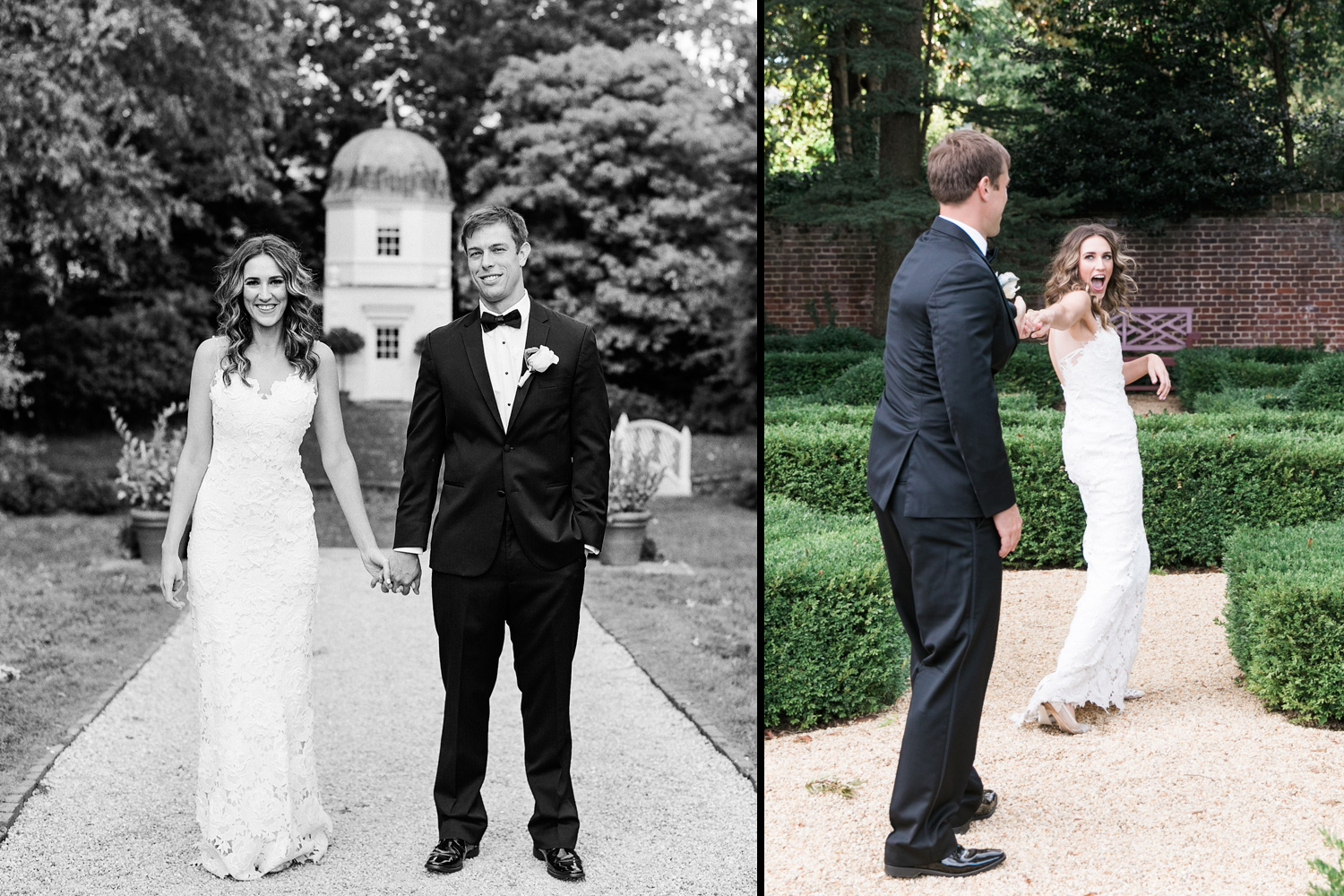 image of bride and groom at William Paca House in Annapolis Maryland wedding reception