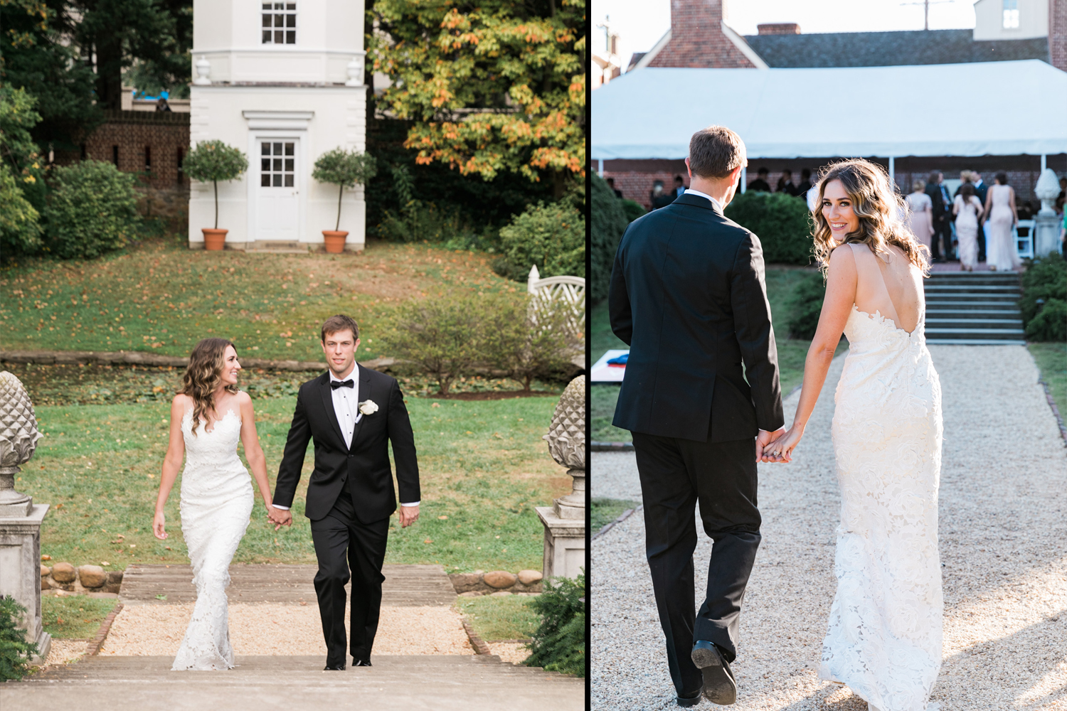 image of bride and groom at William Paca house wedding reception entrance