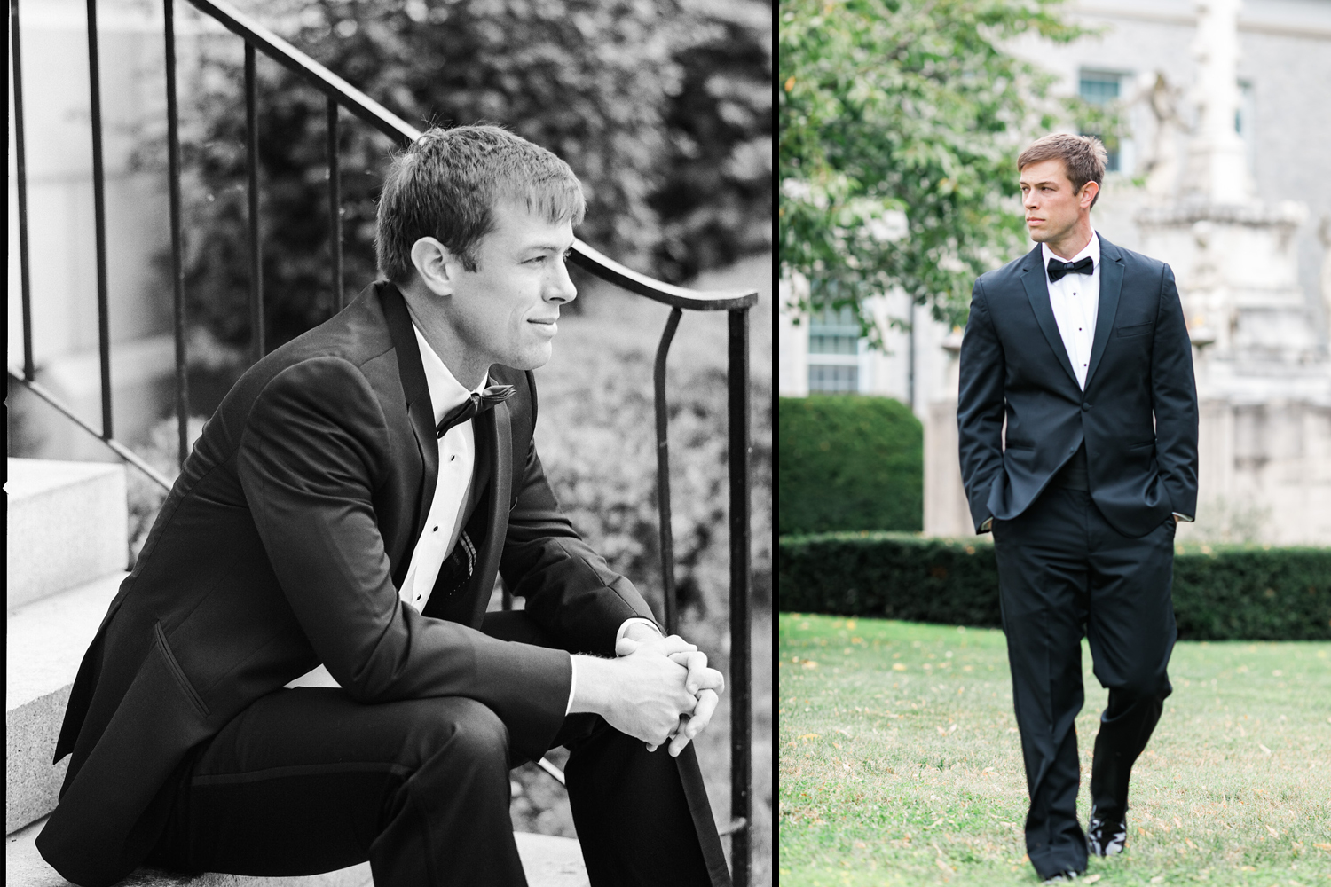 image of groom in tuxedo at US Naval Academy