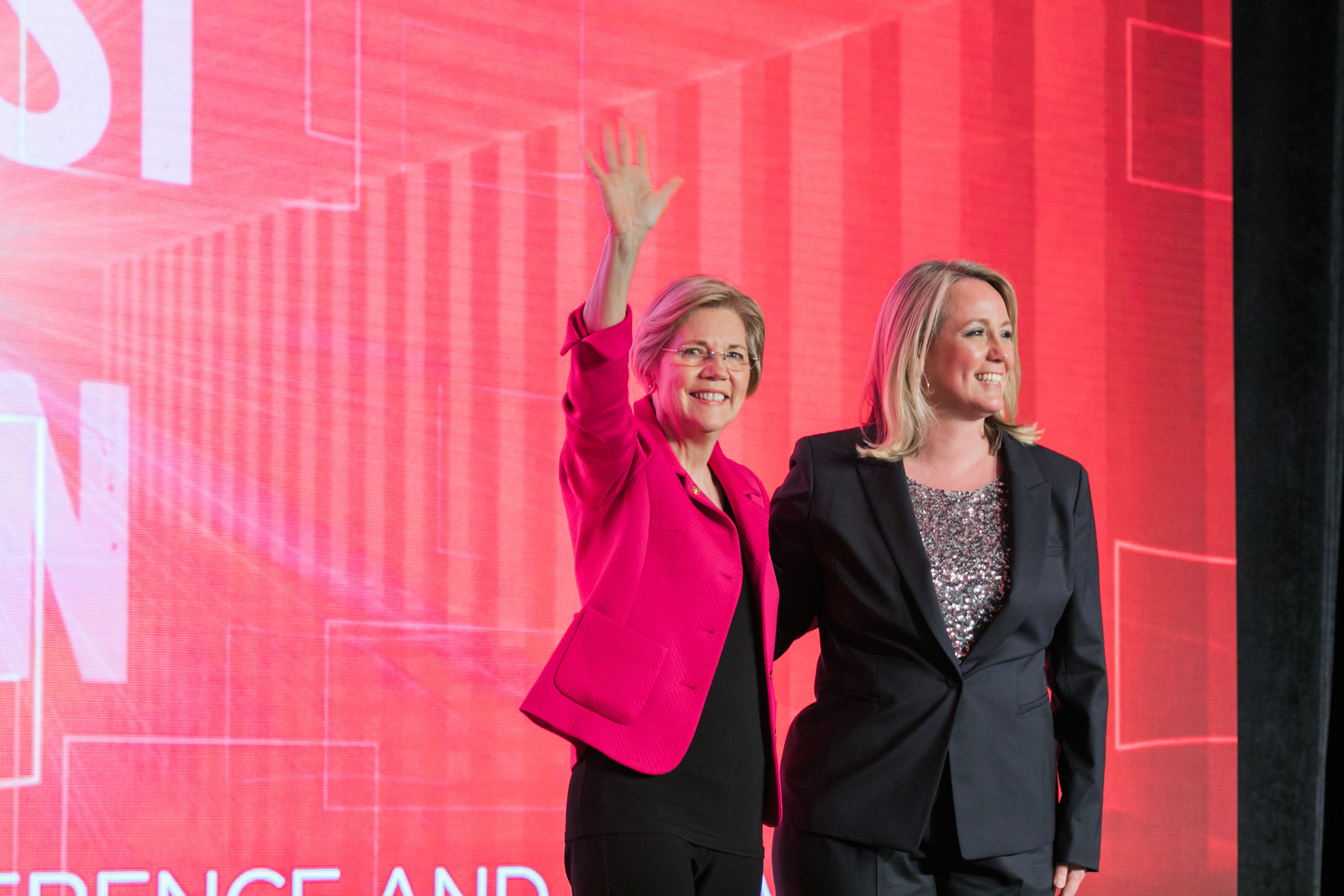 image of Senator Elizabeth Warren and EMILY's List President Stephanie Shriock at WE ARE EMILY National Conference and Gala