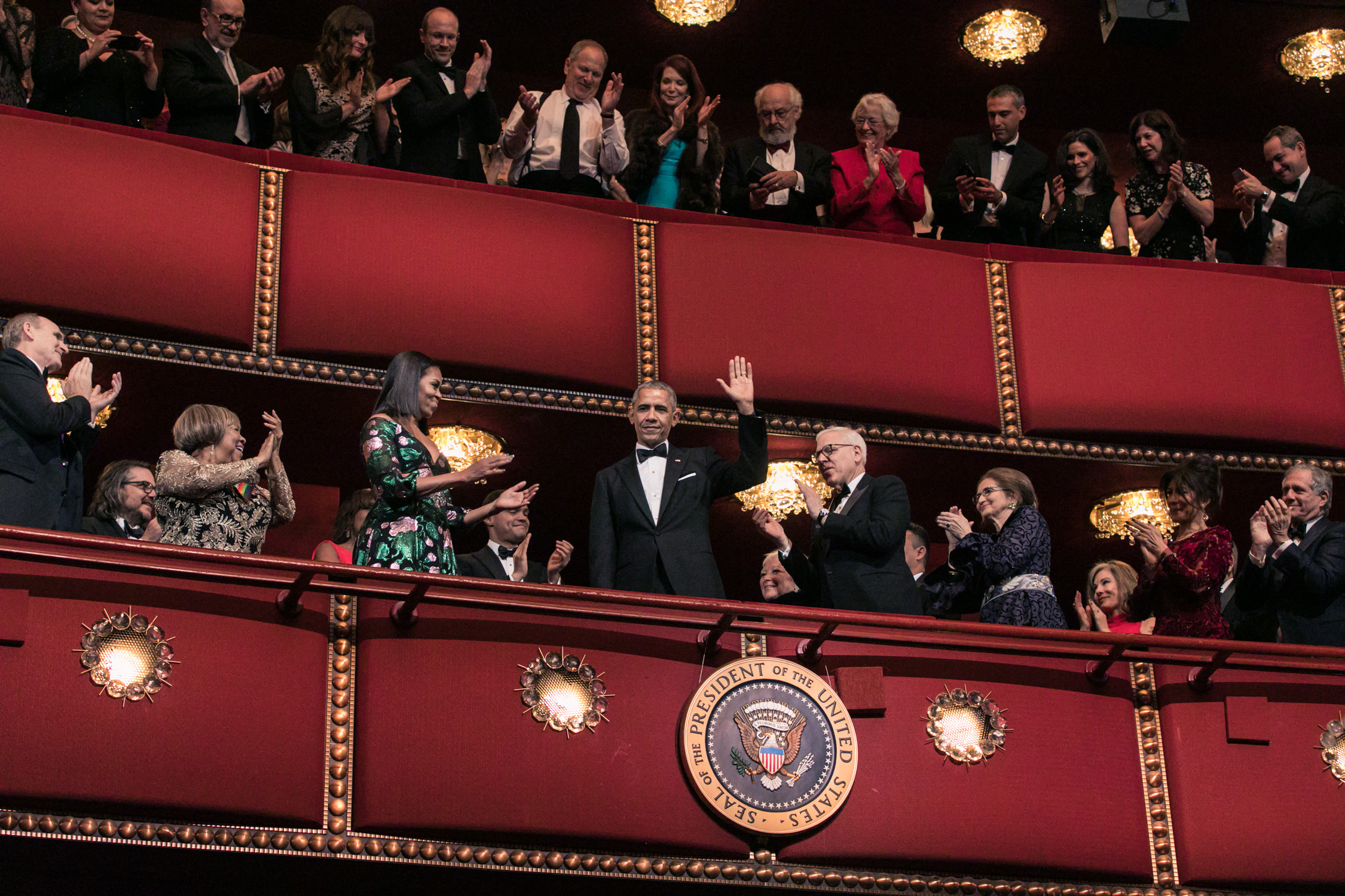 image of President Barack Obama and Michelle Obama with David Rubenstein and Mavis Staples at Kennedy Center Honors and the John F Kennedy Center for the Performing Arts