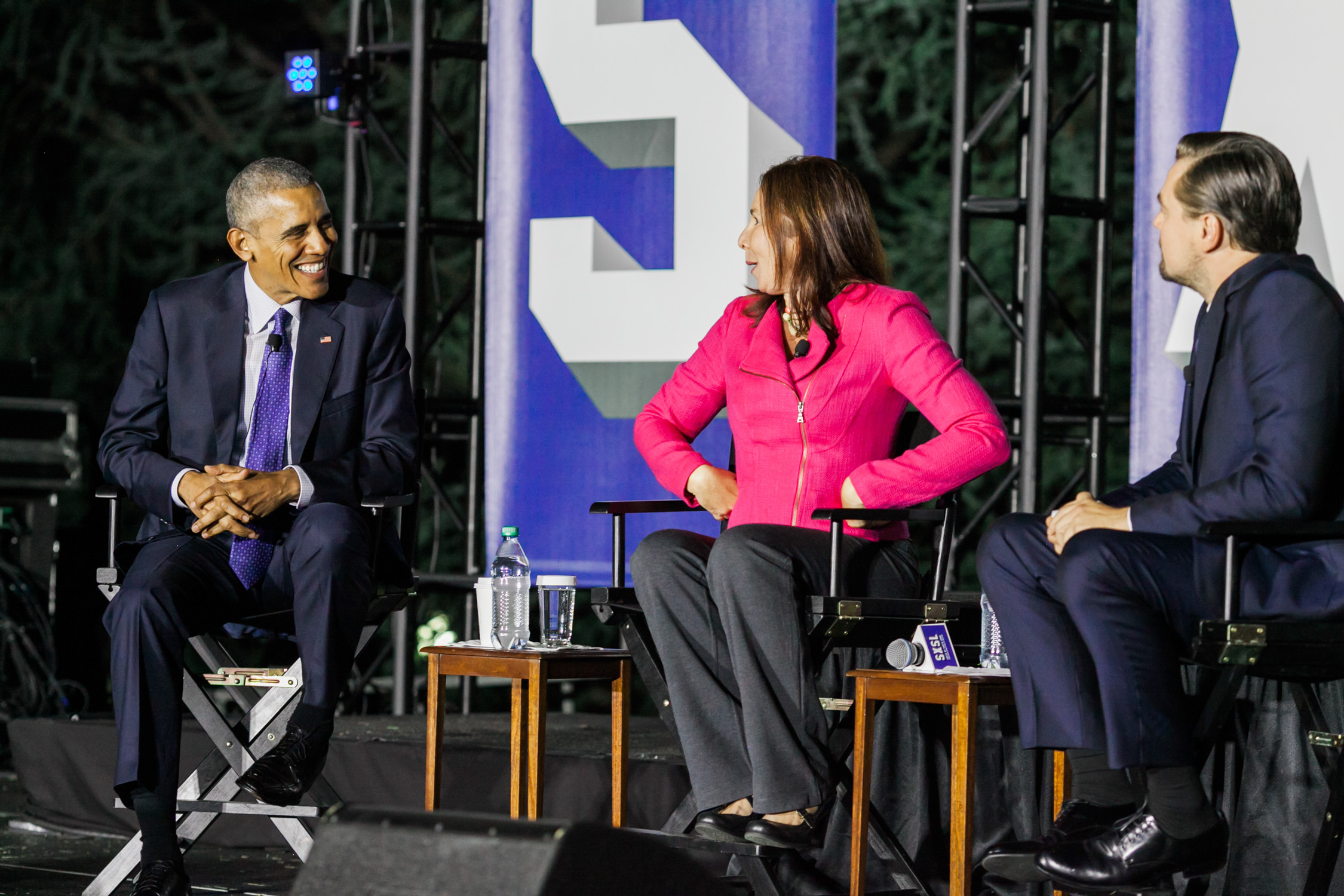 image of President Barack Obama Katherine Hayhoe and Leonardo DiCaprio at SXSW festival during Obama Administration on South Lawn of the White House