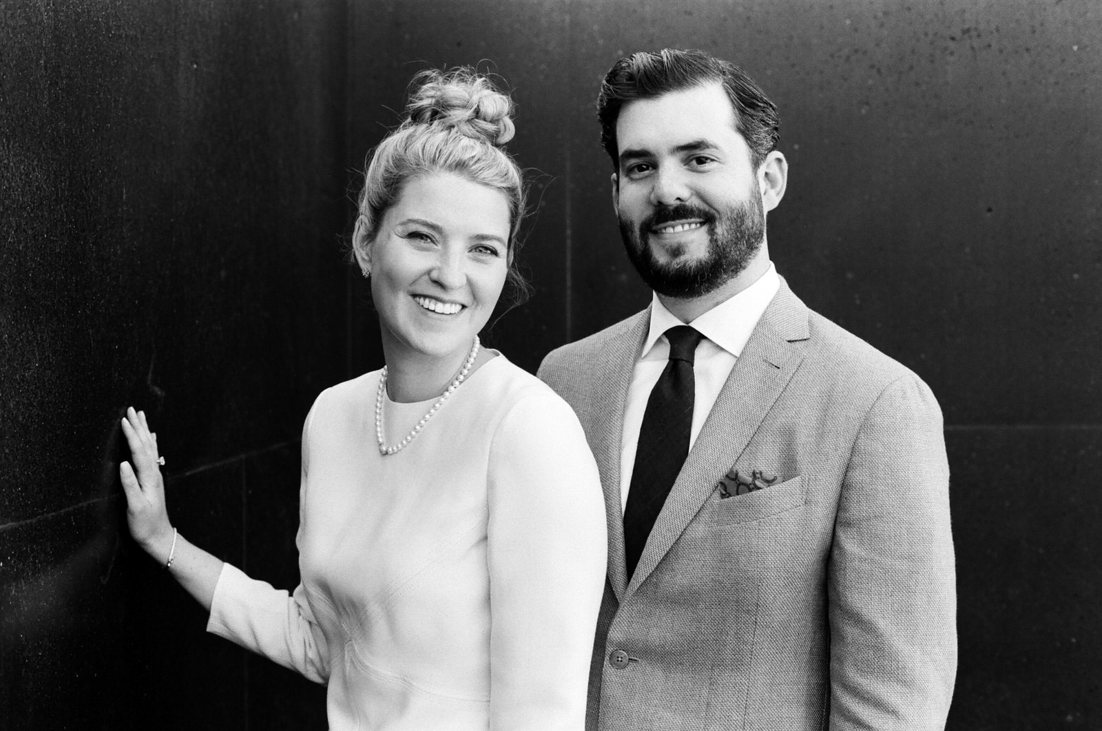 image of bride and groom classic portrait black and white at Canlis restaurant