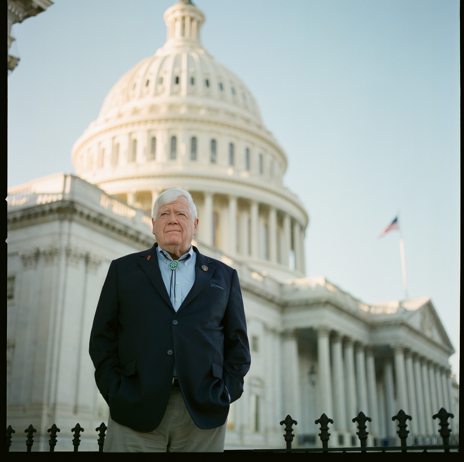image of US Representative Jim McDermott in front of Congress Capitol building in Washington DC
