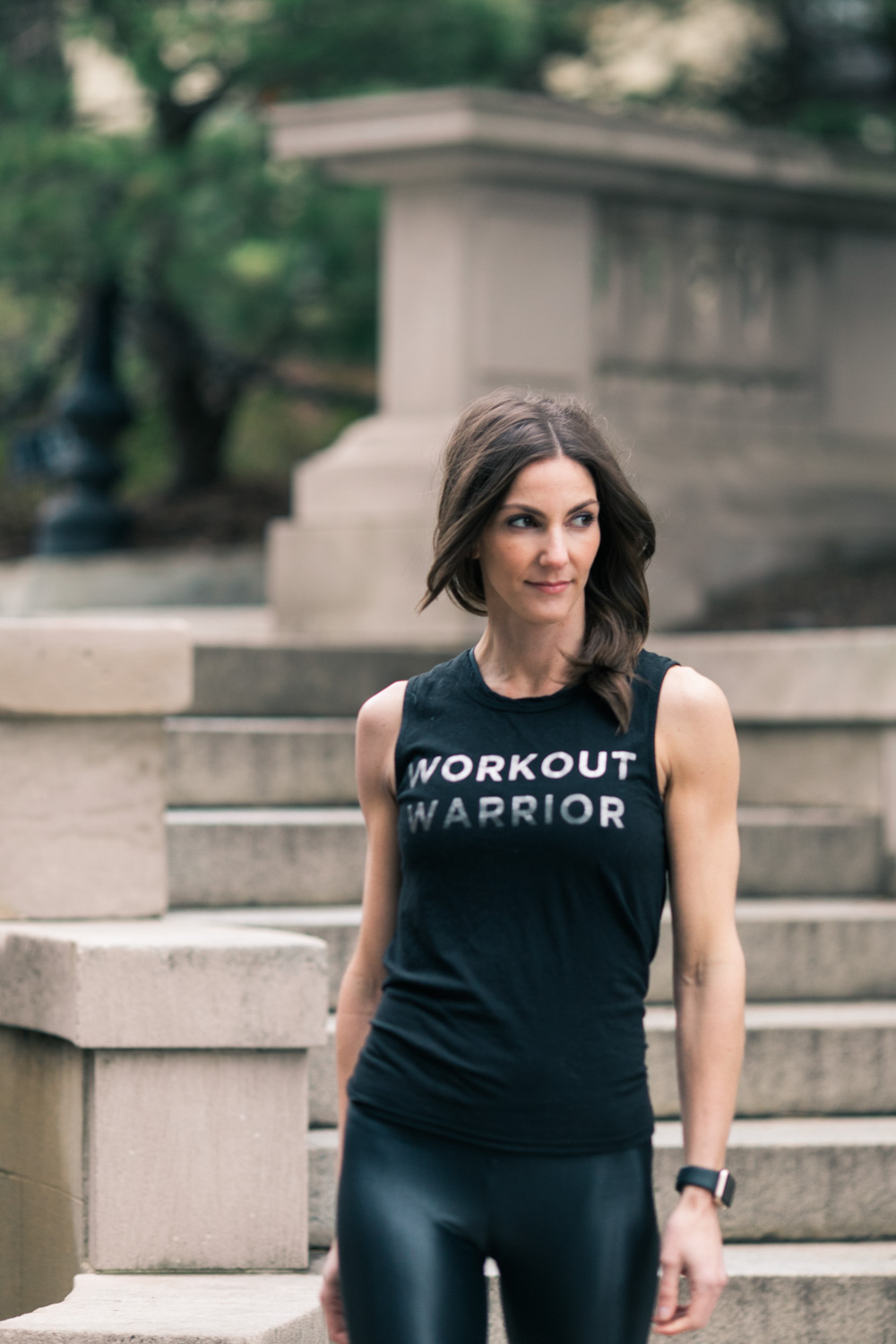 image of Crystal Hinnant portrait woman fitness at Spanish Steps in Washington DC