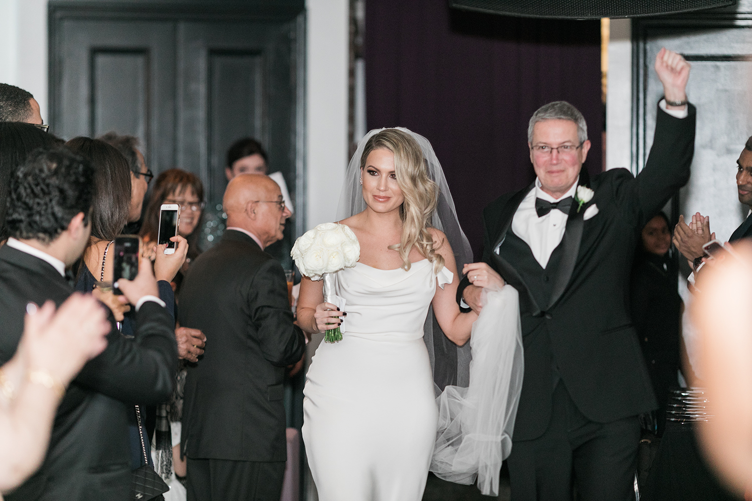 image of Tudor Place wedding bride and father of bride at wedding ceremony processional at Malmaison in Washington DC