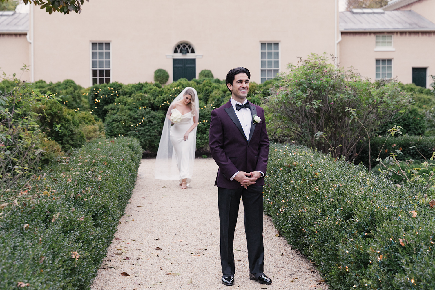 image of Tudor Place wedding bride and groom first look approach at Tudor Place in Washington DC