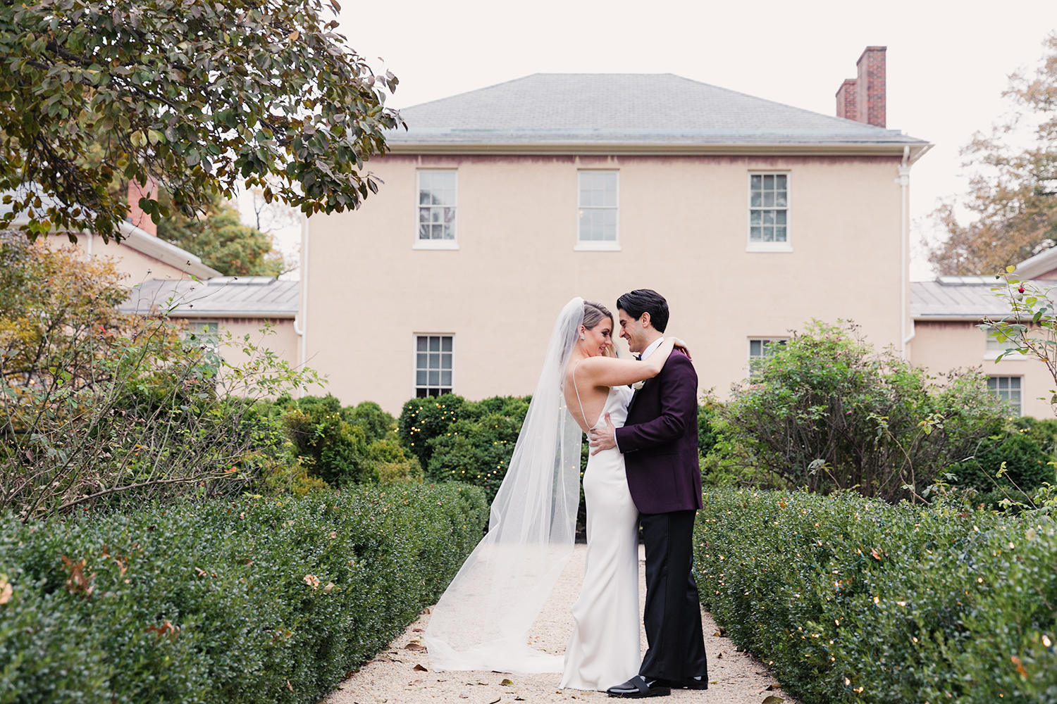 image of bride and groom first look at Tudor Place in Washington DC