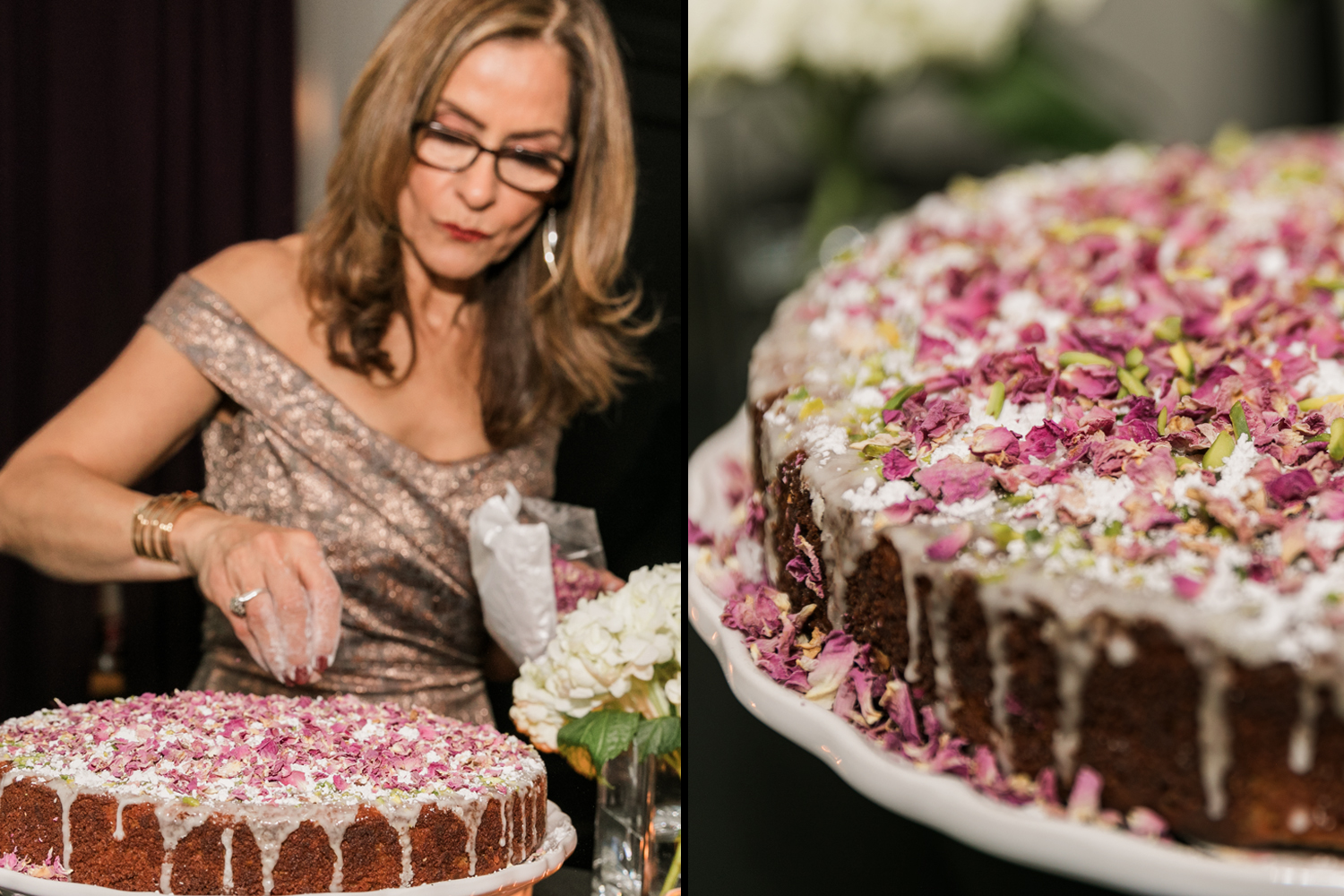 image of Tudor Place wedding Persian love wedding cake with rose petals and pistachio
