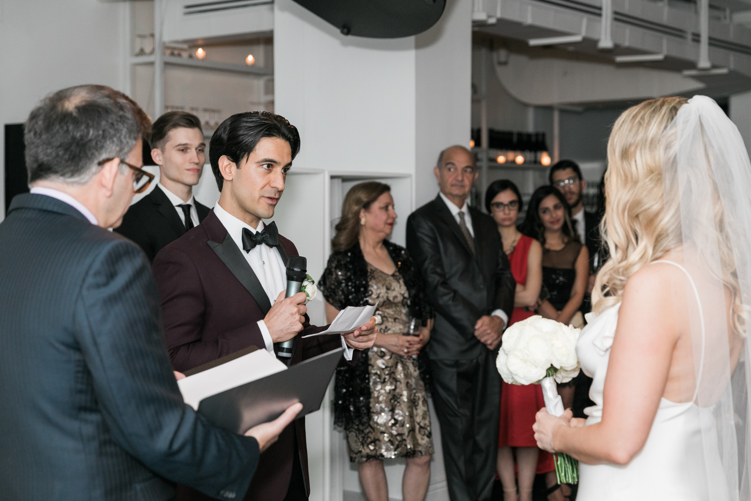 image of Tudor Place wedding bride and groom wedding ceremony vow exchange at Malmaison in Washington DC
