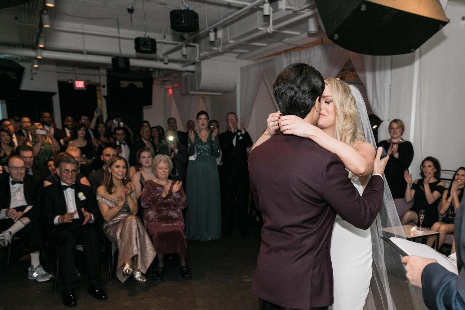 image of Tudor Place wedding bride and groom wedding ceremony first kiss at Malmaison in Washington DC