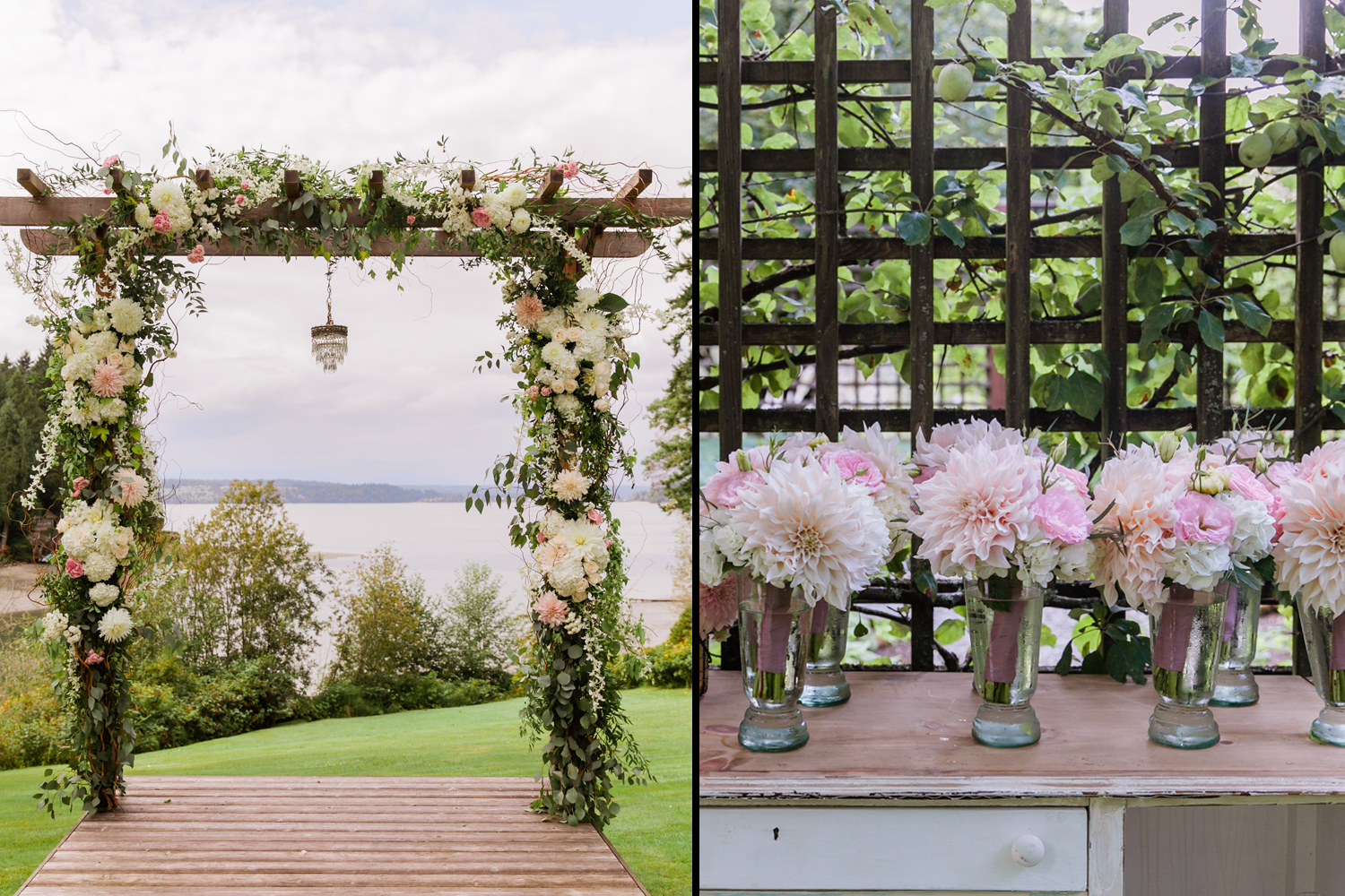 image of flower covered arch for wedding and bride and bridal party bouquets of giant dahlias