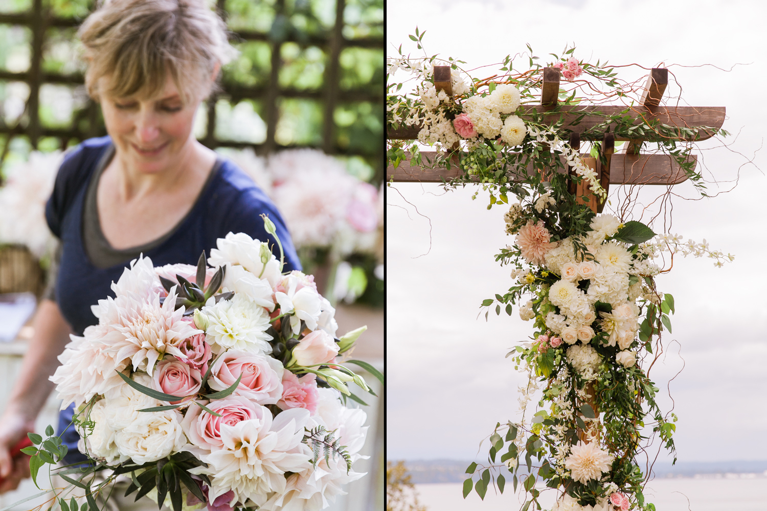 image of Garden Party Flowers florist TJ Montague based on Bainbridge Island design of wedding bride bouquet and ceremony arch