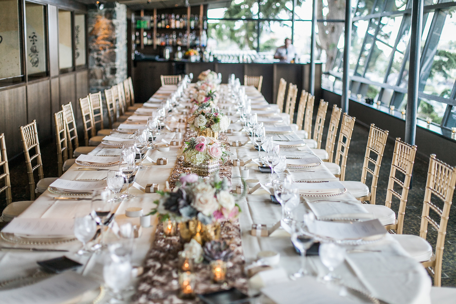 image of wedding tablescape at Canlis restaurant in Seattle designed with succulents by Garden Party Flowers of Bainbridge Island