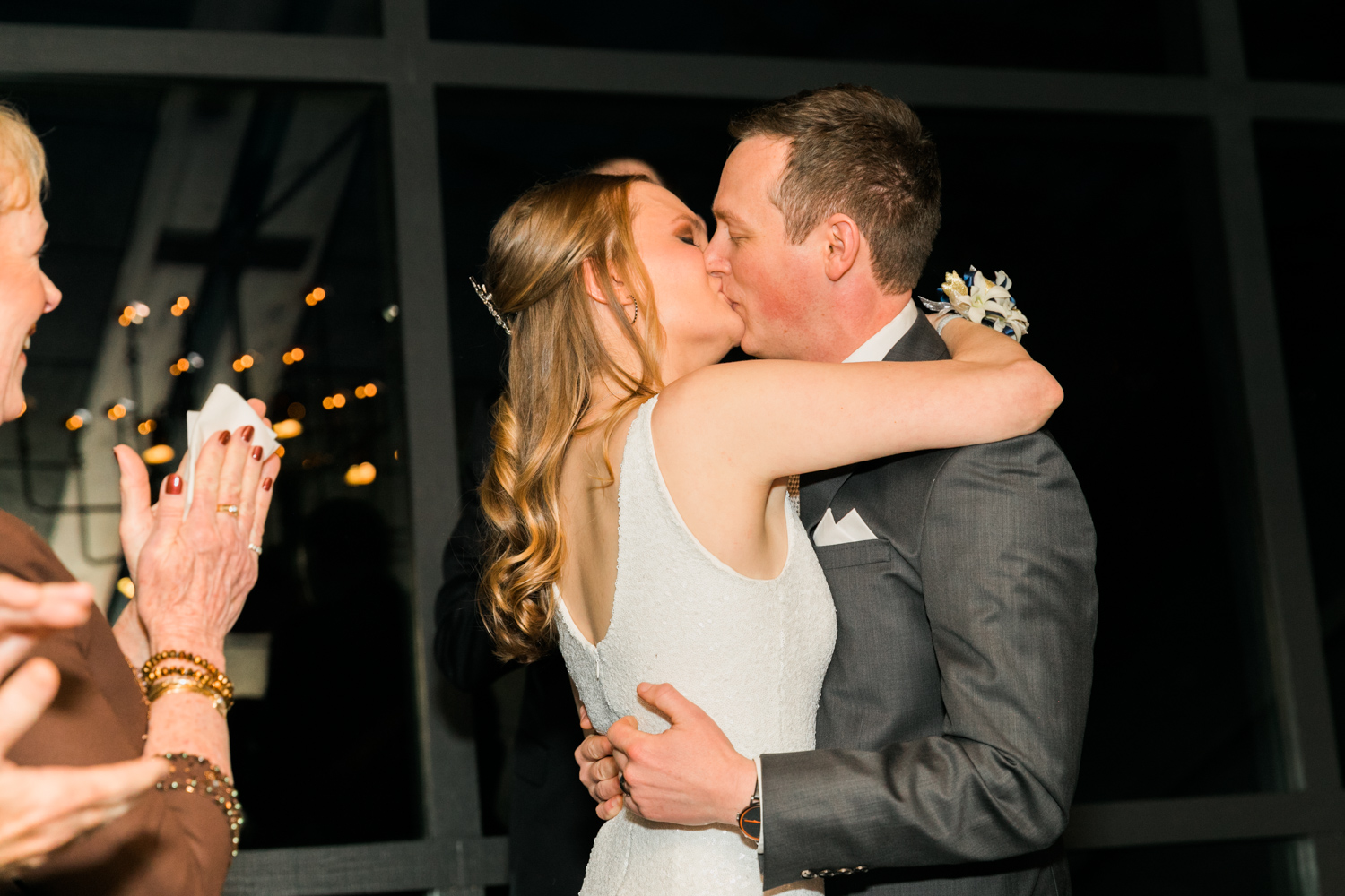 image of Canlis wedding ceremony first kiss