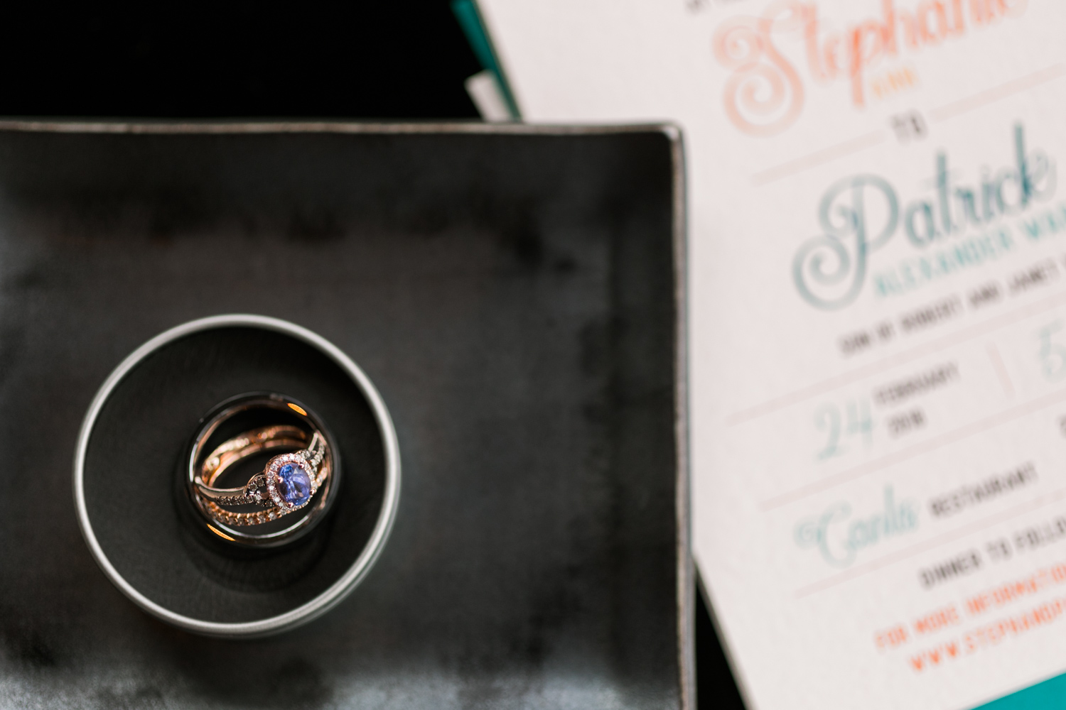 image of Canlis wedding ring and invitation detail