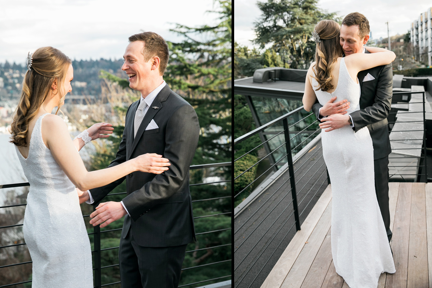 image of Canlis wedding bride and groom first look on Canlis rooftop in Seattle