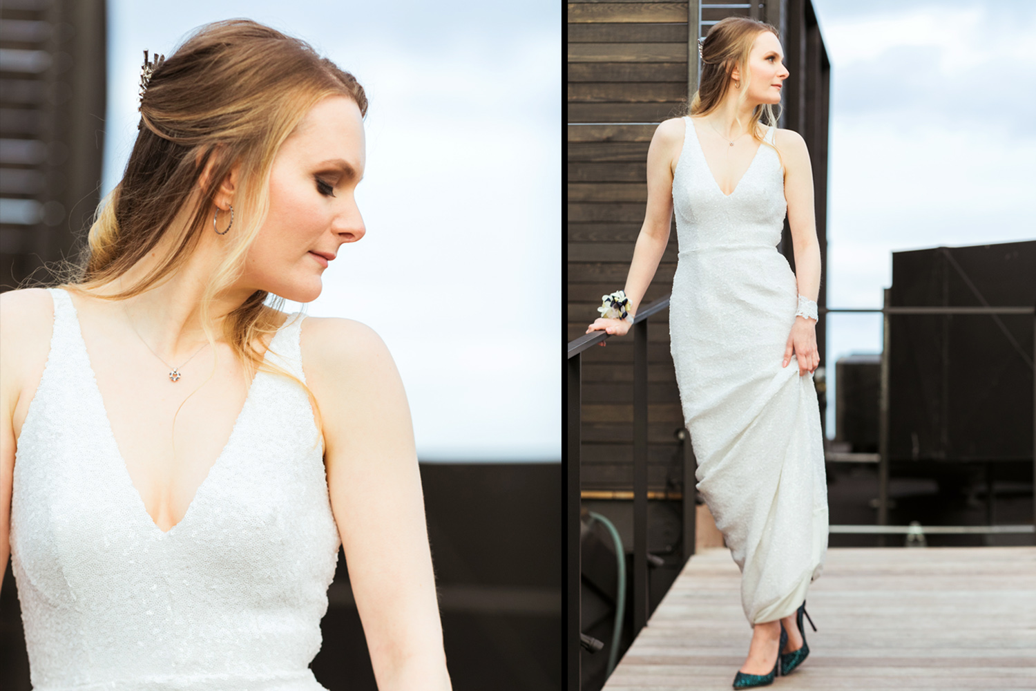 image of Canlis wedding bride on Canlis rooftop in seattle